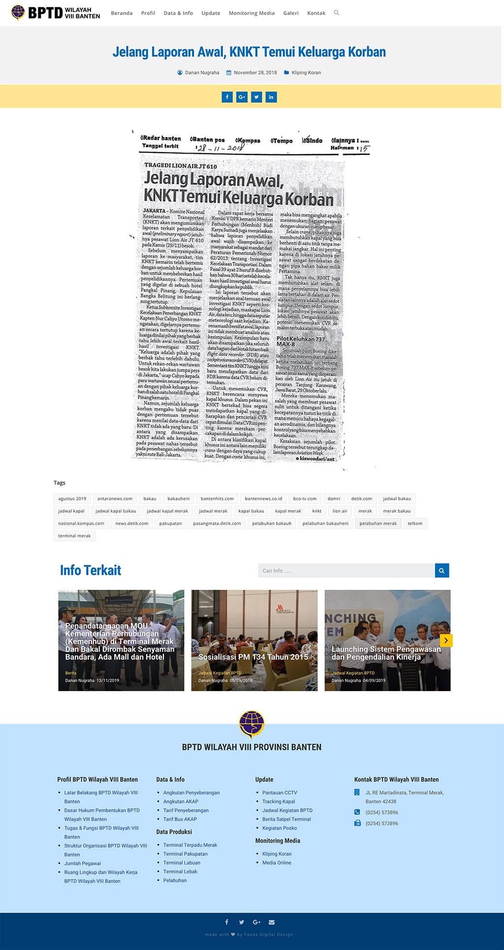 Website Design Client - BPTD 8 Banten